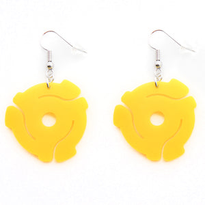 Handmade Yellow<br> 45 Spacer<br> Hook Earrings