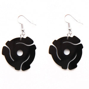 Handmade Black <br>45 Spacer<br> Hook Earrings