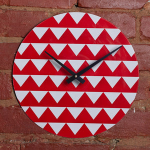"Custom Made 12"" Red Triangle Printed Clock Using Original LP Record"