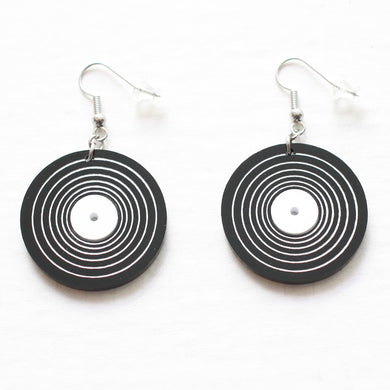 Handmade Vinyl <br>LP Record <br>Hook Earrings