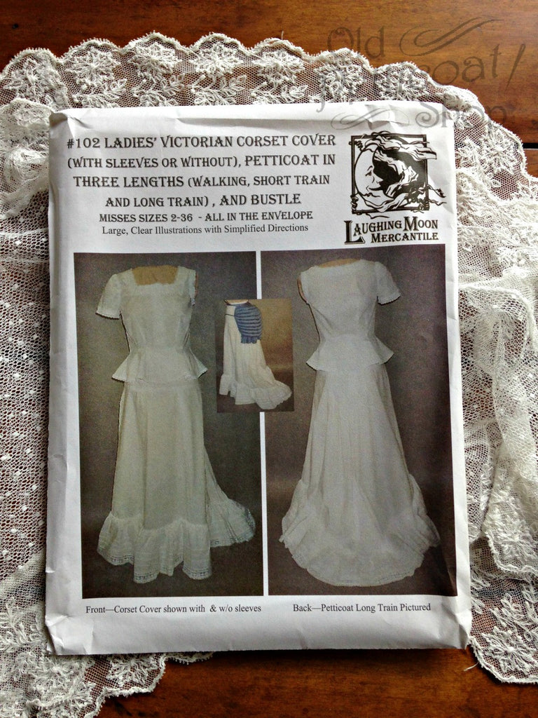 Laughing Moon #102 Ladies' Victorian Corset Cover, Petticoat & Bustle Pattern