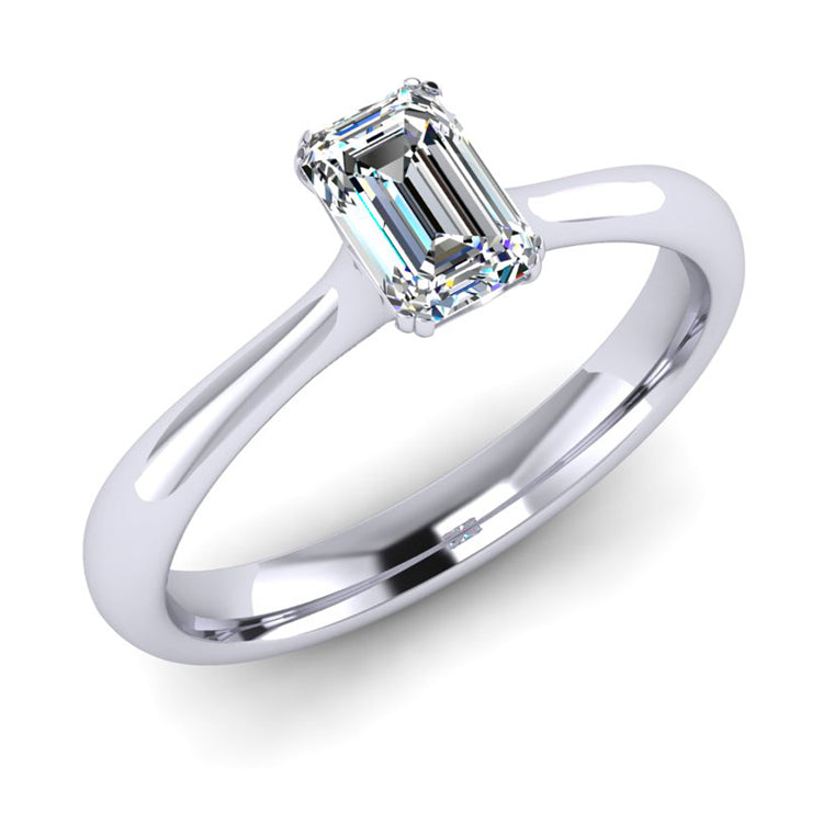 Emerald Cut Fine Diamond Solitaire Engagement ring