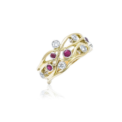 18ct Gold Ruby and Diamond 'Open Wave' Ring