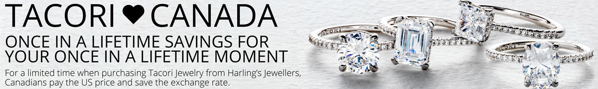Beautiful Tacori engagement rings included in the Tacori Loves Canada promotion where Canadians pay the US price.