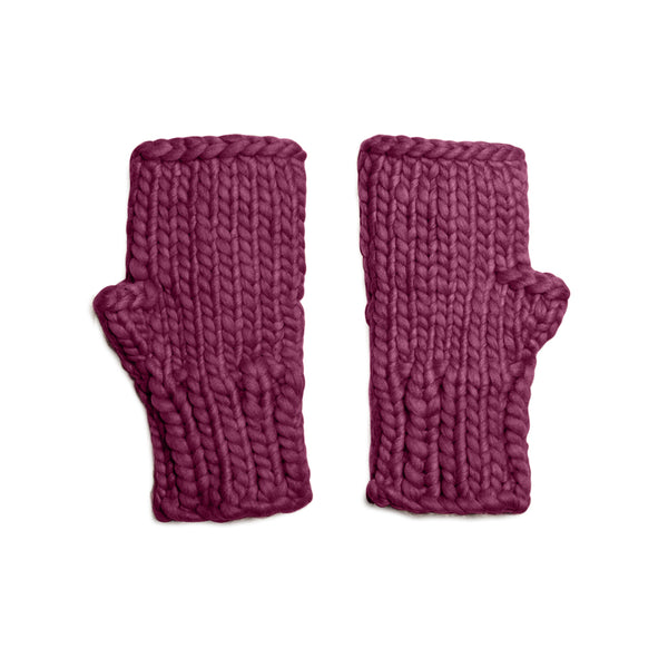 The Chelsea Mitts - Embellished Fingerless Mitts in Cabernet
