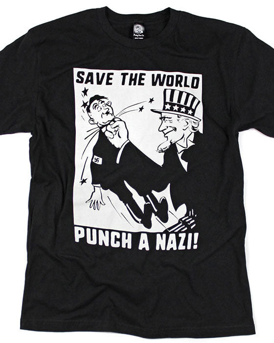 Save The World, Punch A Nazi! T-Shirt-Pretty Bad Co.-Strange Ways