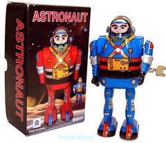 Astronaut Robot Windup Tin Toy Blue Robot