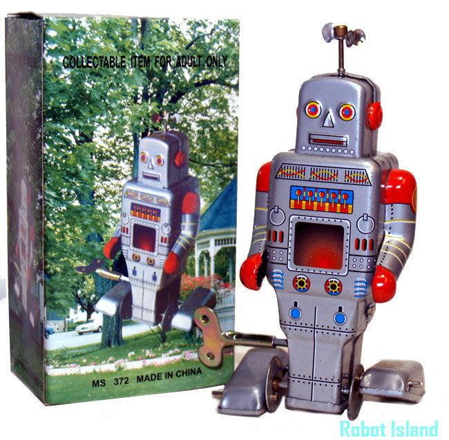 JUST ARRIVED! Peddle Foot Robot Tin Toy Windup Weatherman