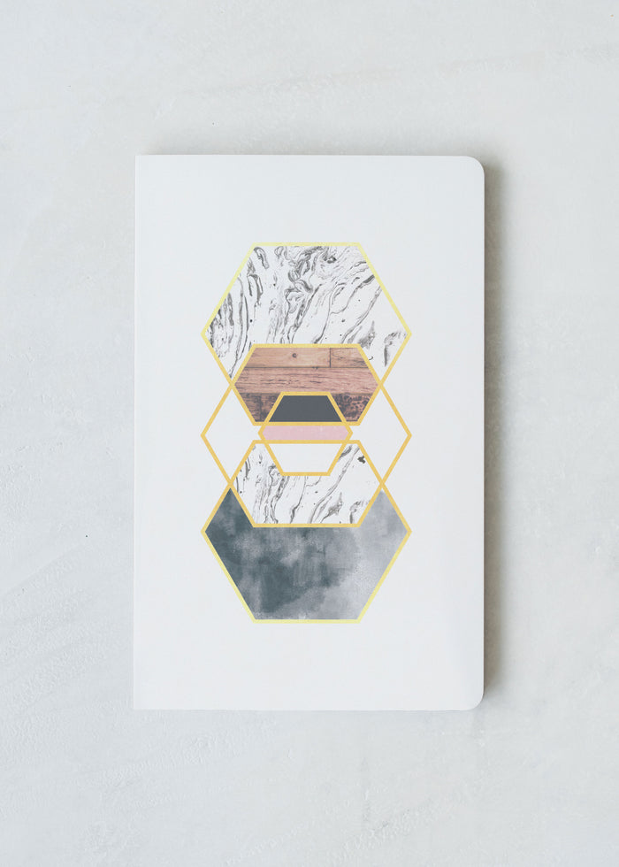 Gold Hexes Layflat Softcover Notebook
