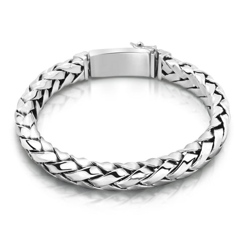 Solid Sterling Silver Woven Bracelet for Men
