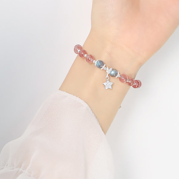 Sterling Silver Natural Strawberry Crystal Beaded Bracelet