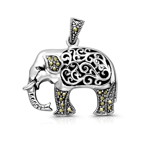 High Polish Sterling Silver Vintage Elephant Pendant