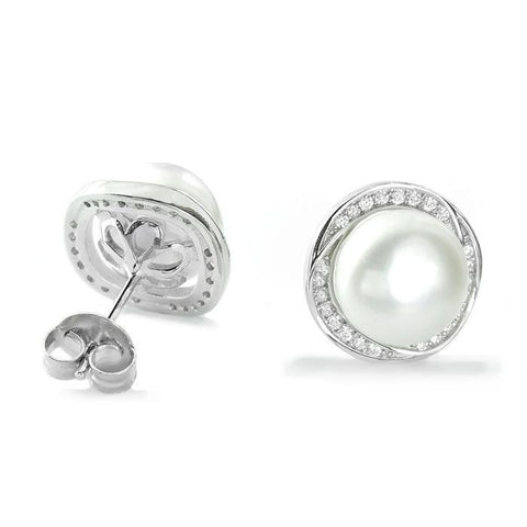 Gorgeous 925 Sterling Silver 8-9mm Pearl CZ Stud Earrings