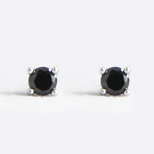 Sterling Silver 3mm CZ Black Stud Earrings