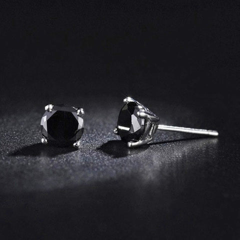 Sterling Silver 4mm CZ Black Stone Stud Earrings