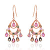 Rose Gold Over 925 Sterling Silver Natural Tourmaline Drop Earrings