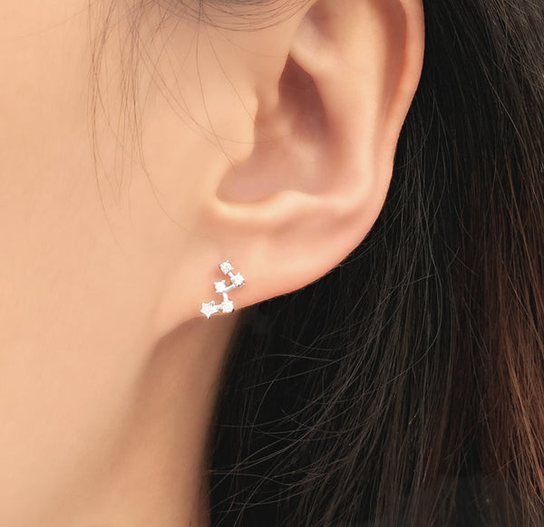 925 Sterling Silver CZ Star Climber Earrings