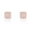 Sparkling Square 925 Sterling Silver Cubic Zirconia Earrings Rose