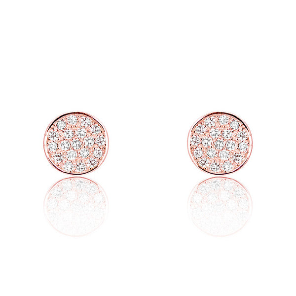 Rose Gold Plated Silver Cubic Zirconia Modern Circle Earrings