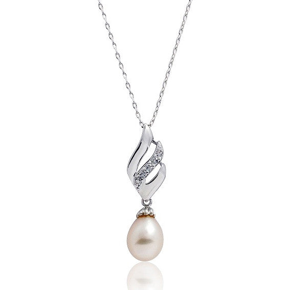 Classic Pearl Cubic Zirconia 925 Sterling Silver Pendant Necklace 16