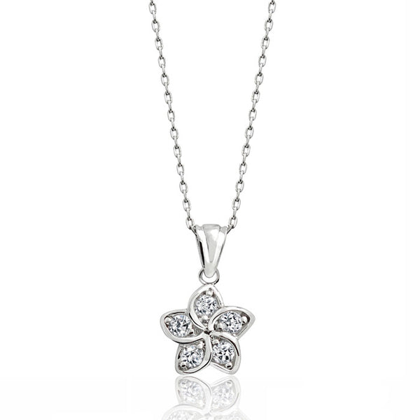 Sterling Silver Cubic Zirconia Beautiful Flower Pendant Necklace 16