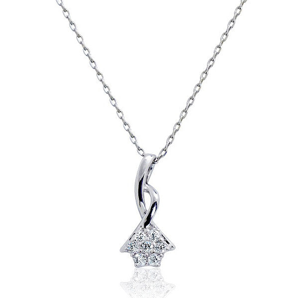 Graceful Sterling Silver CZ Pendant Necklace 16