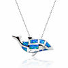 925 Sterling Silver Synthetic Opal Dolphin Pendant Necklace 16