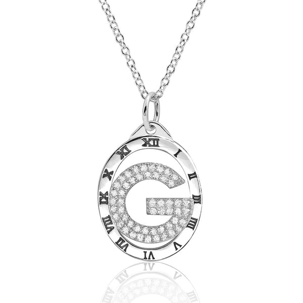 Smart Large G Clock Cubic Zirconia 925 Sterling Silver Necklace