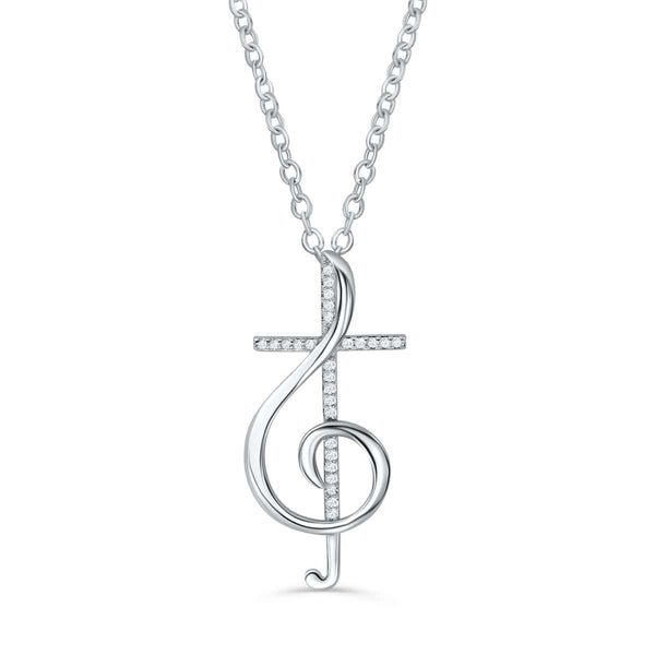 Sterling Silver Treble Clef Music Note Cross Necklace