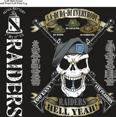 Platoon Shirts (2nd generation print) ALPHA 1ST 19TH RAIDERS SEPT 2017