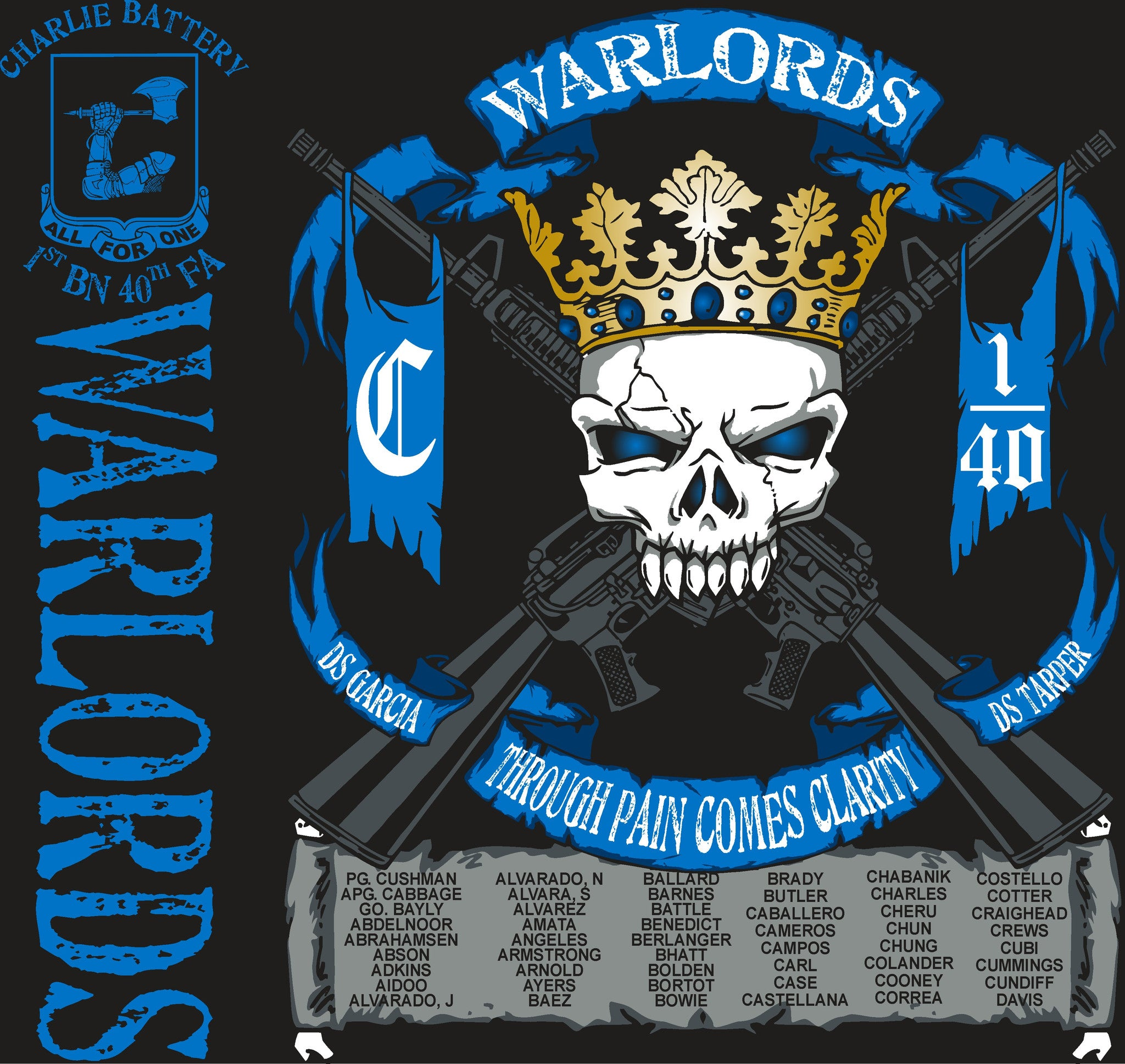 Platoon Shirts CHARLIE 1st 40th WARLORDS APR 2015