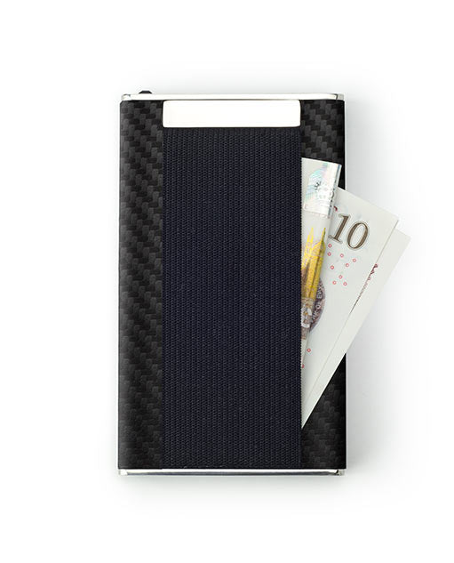 Vanacci Carbon Wallet in GT Leather holding cash in the back