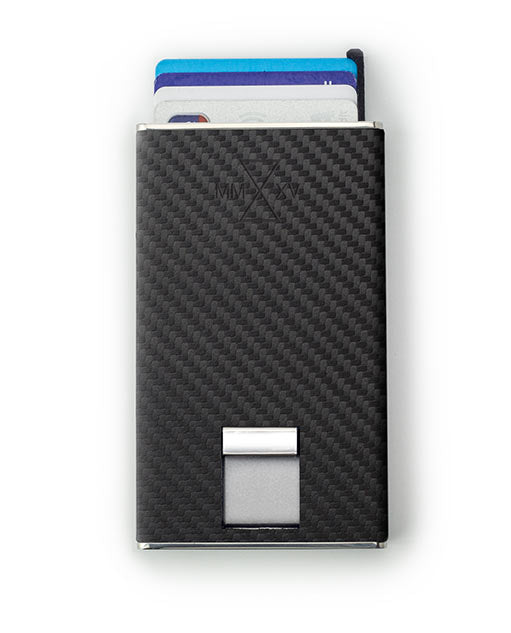 Vanacci Carbon Wallet in GT Leather ejecting credit cards