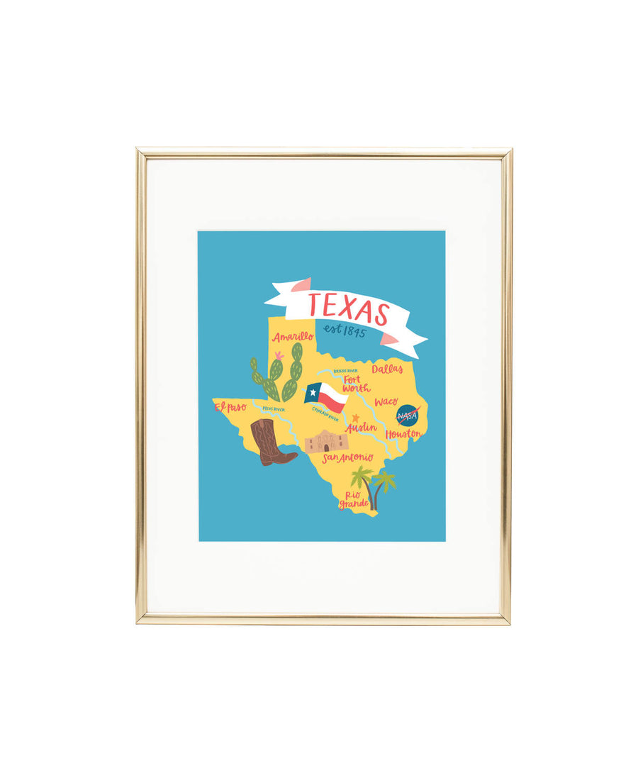 Map of Texas - Texas Illustrated Map - Waco Texas