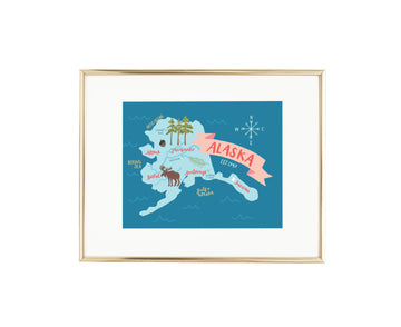 Map of Alaska Illustration