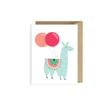 Llama Birthday Balloon Card