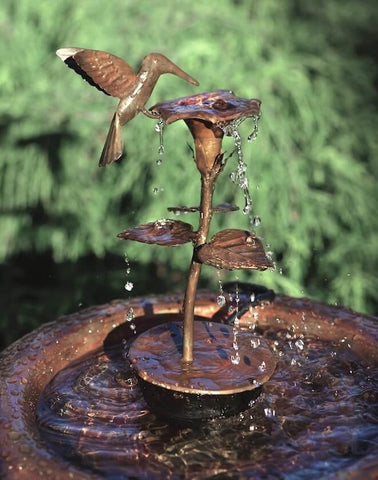 Copper Hummingbird Birdbath Fountain/Dripper