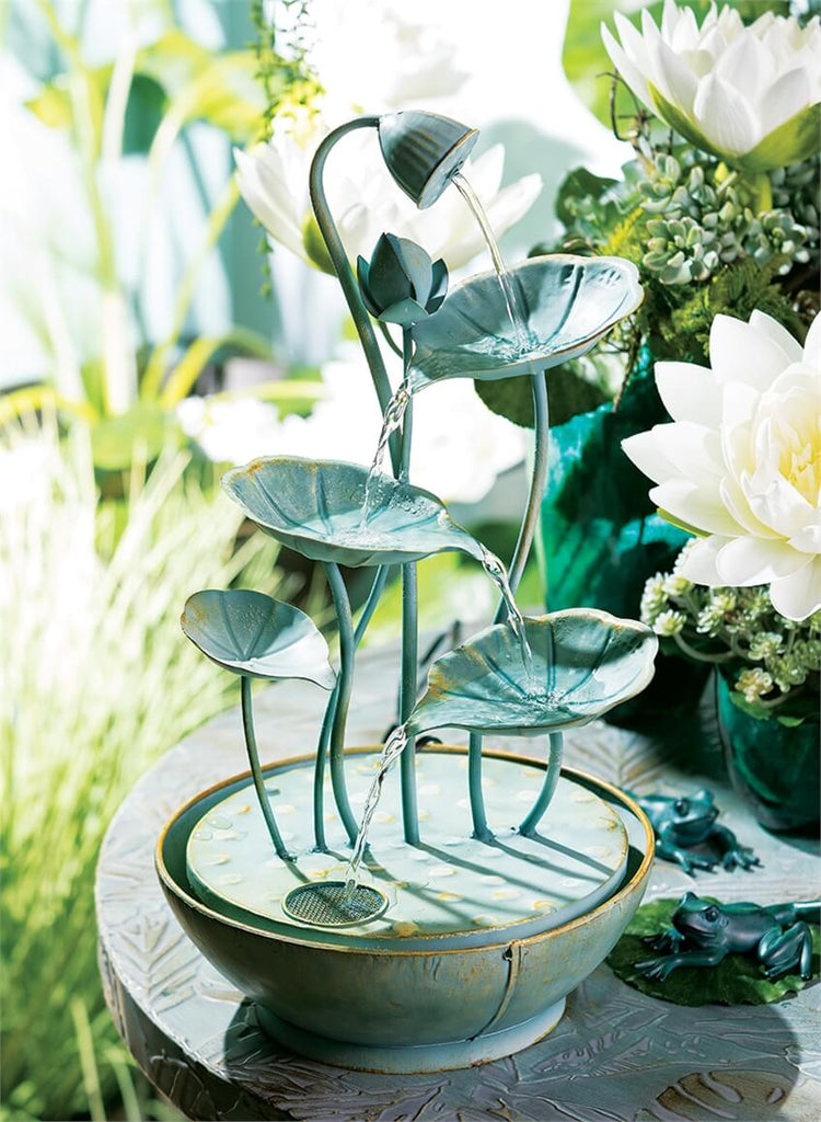 Lily Pad Hummingbird Bath Cascading Fountain