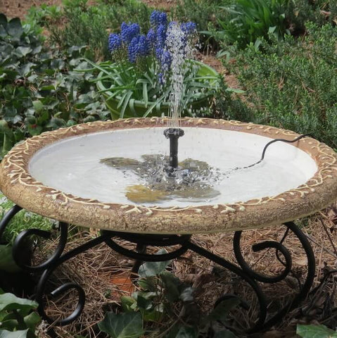 Large Solar Fountain Bird Bath