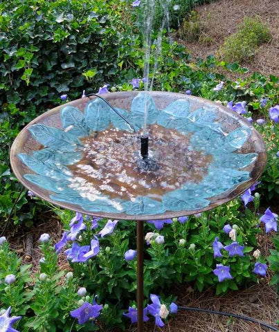 Brass Leaves Solar Bubbler Bird Bath