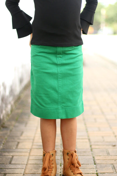 Girls Kelly Green Denim Skirt