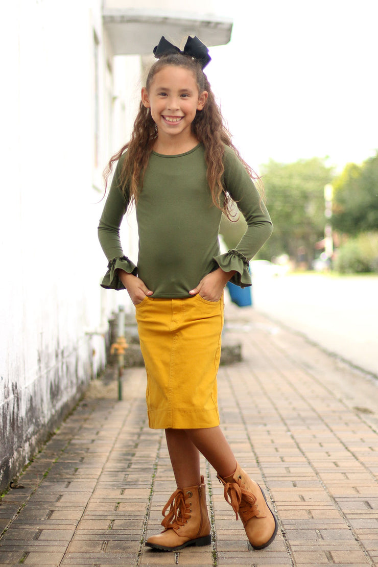 'Gennah' Olive Green Ruffle Top
