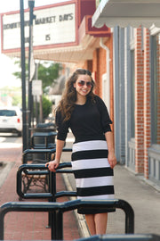 'Riley' Horizontal Black & White Striped Skirt
