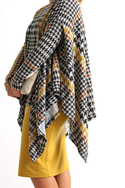 Mustard and Gray Houndstooth Poncho