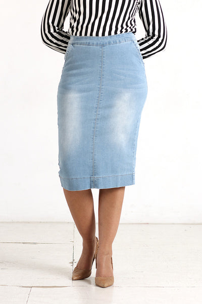 'Kara' Light Wash Flat Front Denim Skirt-X SMALL ONLY