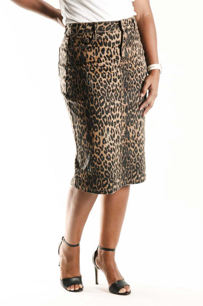 'Nina' Leopard Denim Skirt