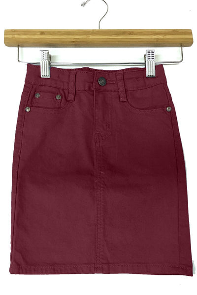 Girls Burgundy Denim Skirt