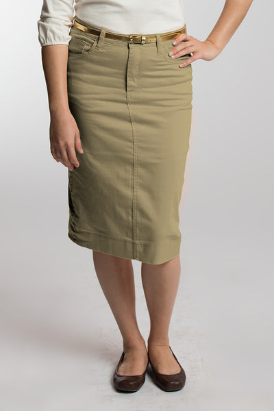 Buttered Pecan (Khaki) Denim Skirt