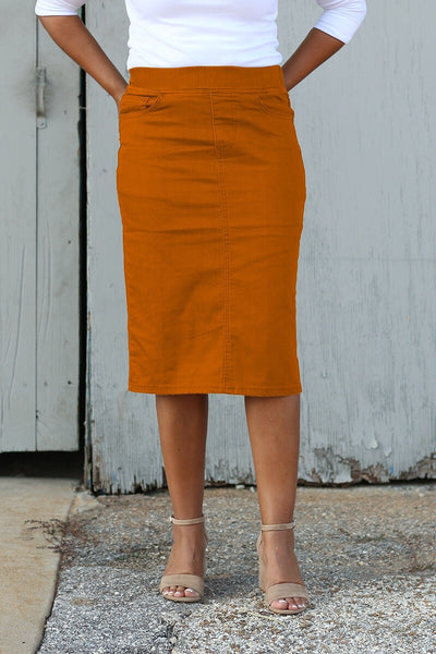 Burnt Orange Elastic Waist Denim