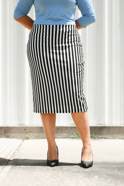 'Riley' Vertical Black & White Stripe Skirt